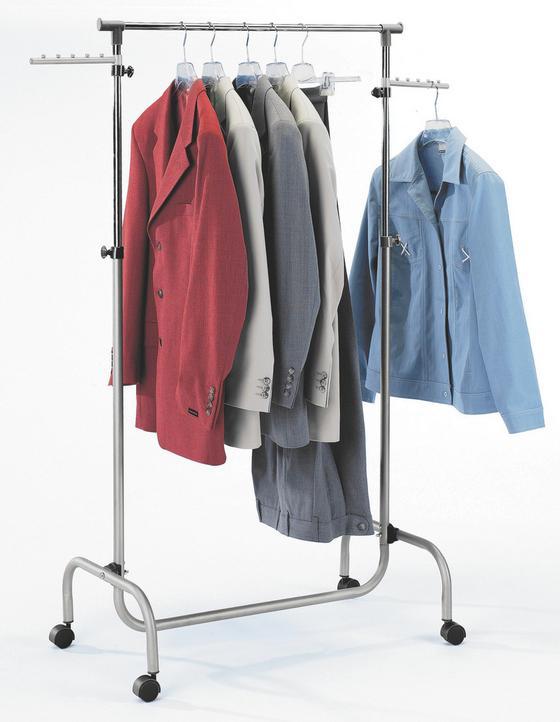 Ruhaállvány Frank - krómszínű/alu színű, modern, műanyag/fém (75/103-165/42cm) - HOMEZONE