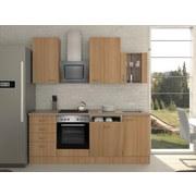 Küchenblock Nano 220 cm Buche - Buchefarben/Creme, MODERN, Holzwerkstoff (220cm) - MID.YOU