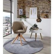 Drehstuhl Belluno Grau-Beige mit Drehbarer Sitzfläche - Greige/Eichefarben, MODERN, Holz/Textil (60/88/57,5cm) - MID.YOU