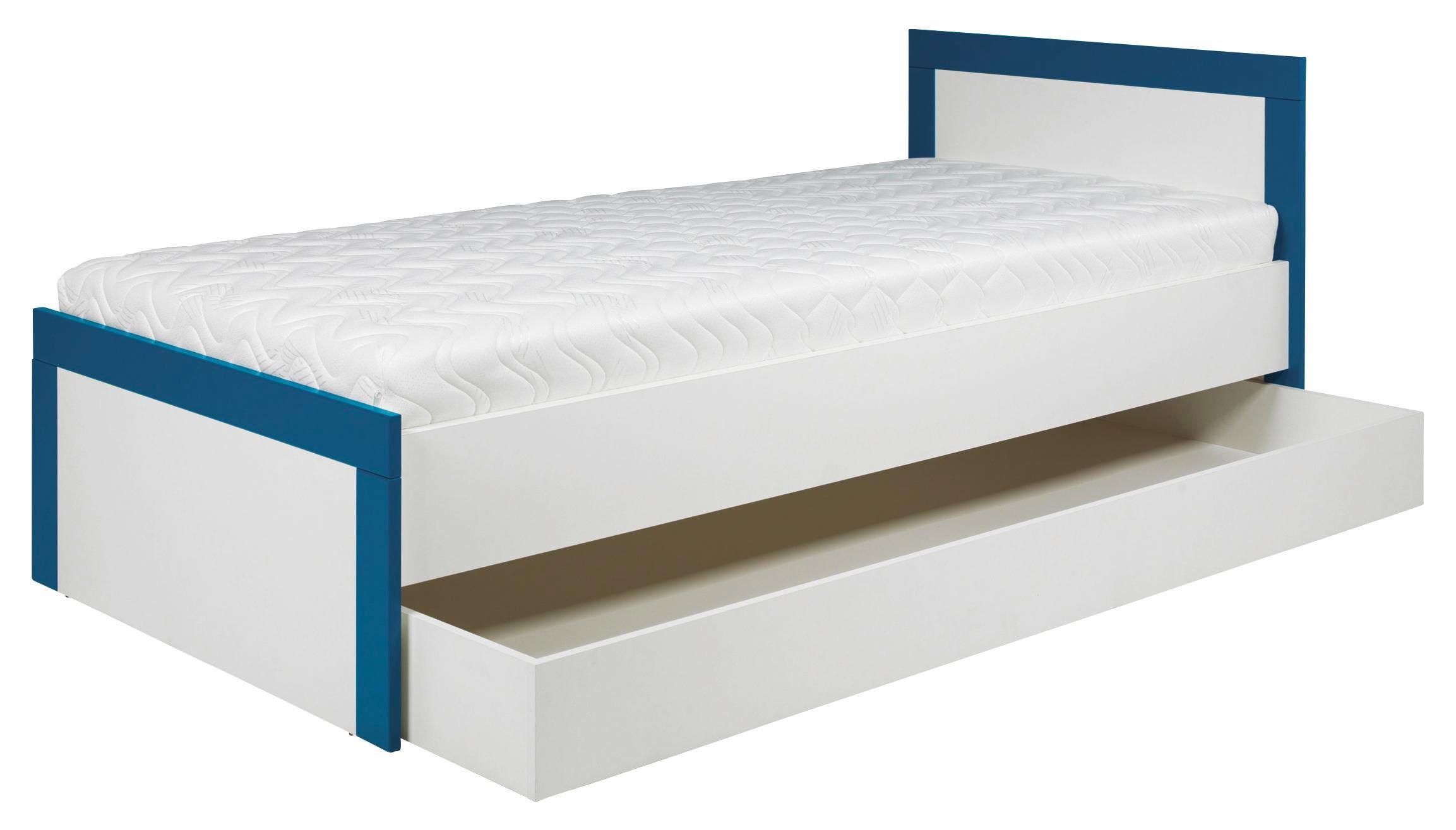 Futonová Postel Derby - bílá/tyrkysová, Moderní, dřevěný materiál (204/78,5/96,5cm)