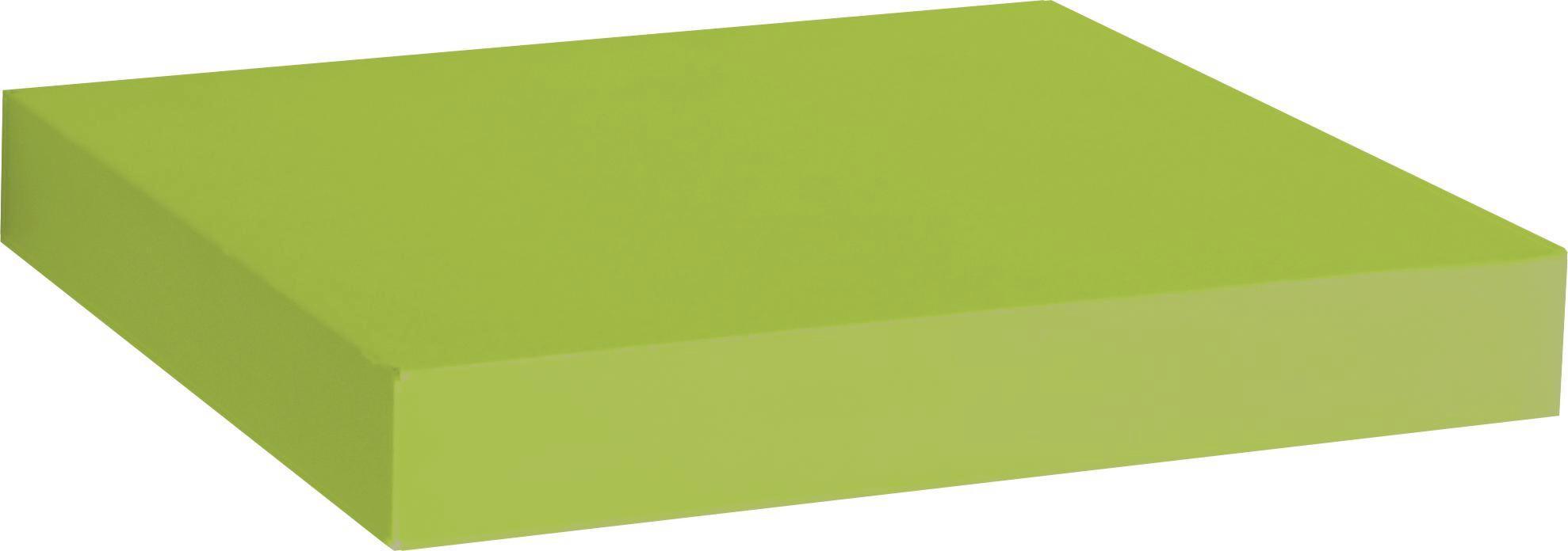 Police Nástěnná Simple - zelená, Moderní, dřevěný materiál/umělá hmota (23,5/3,8/23,5cm)