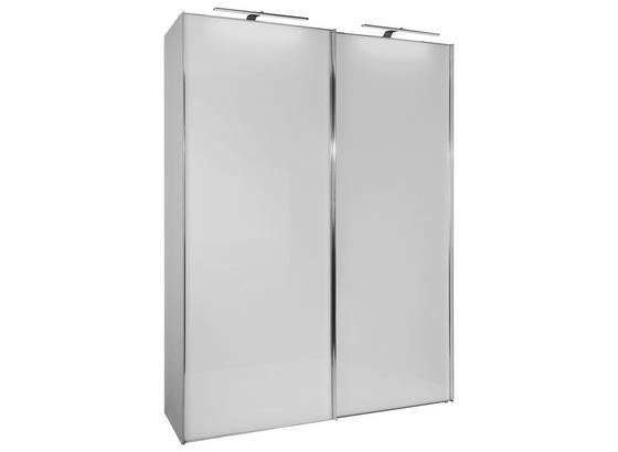 Schwebetürenschrank Glasfront 200cm Sonate, Weiß - Weiß, MODERN, Holz/Holzwerkstoff (200/222/68cm) - Luca Bessoni
