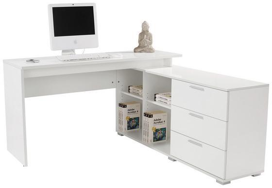 Rohový Písací Stôl Wien Ii - biela, Moderný, drevený materiál (145/75/144,5cm)