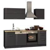 Küchenblock Mailand Gsp B:220cm Anthrazit - Eichefarben/Anthrazit, Basics, Holzwerkstoff (220/200/60cm)