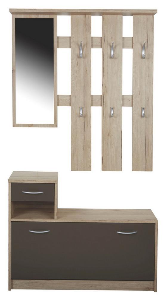 Šatna Iza - barvy dubu/hnědá, Konvenční, dřevěný materiál/sklo (100/190/26cm)