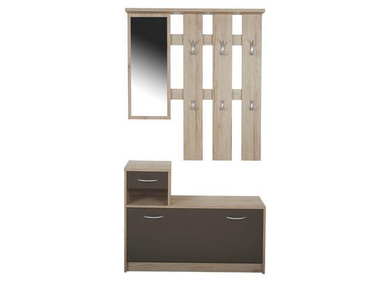 Šatna Iza - barvy dubu/hnědá, Konvenční, kompozitní dřevo/sklo (100/190/26cm)