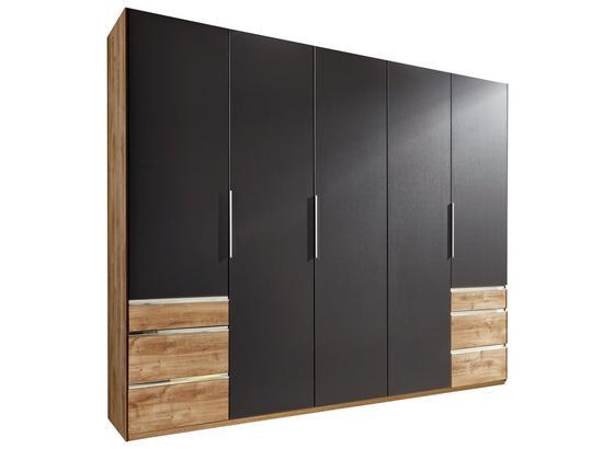 Drehtürenschrank mit Schubladen 250cm Level 36a, Graphit Dekor - Eichefarben/Graphitfarben, MODERN, Holzwerkstoff (250/216/58cm)