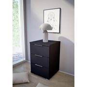 Nachtkästchen Schwarz H: 61 cm - Silberfarben/Schwarz, Basics, Holzwerkstoff (46/61/42cm) - P & B
