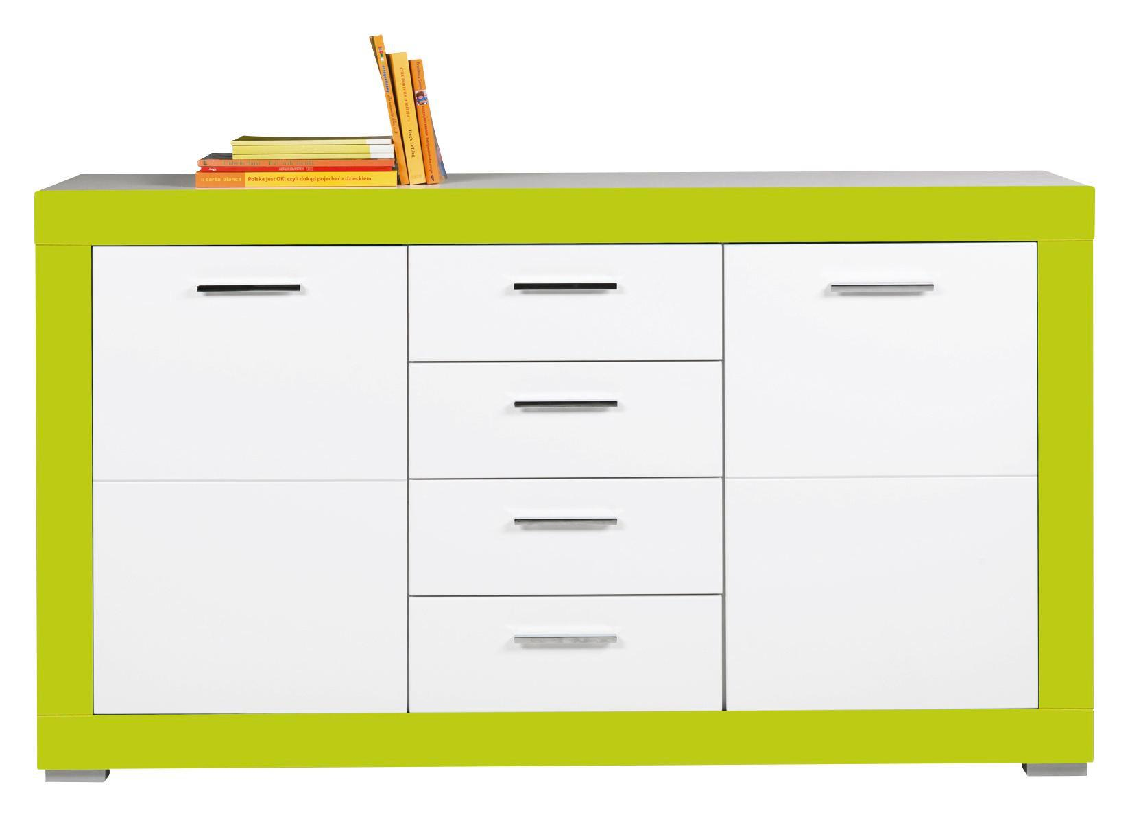 Komoda Sideboard Derby - bílá/zelená, Moderní, dřevěný materiál (155/90/40,5cm)