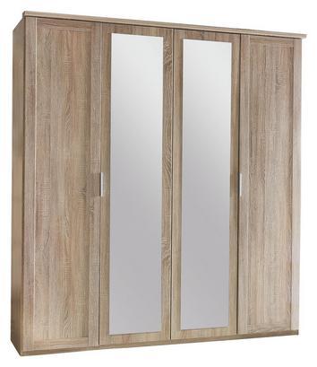 Fünftüriger Kleiderschrank in Eiche Sägerau Dekor mit Spiegeln