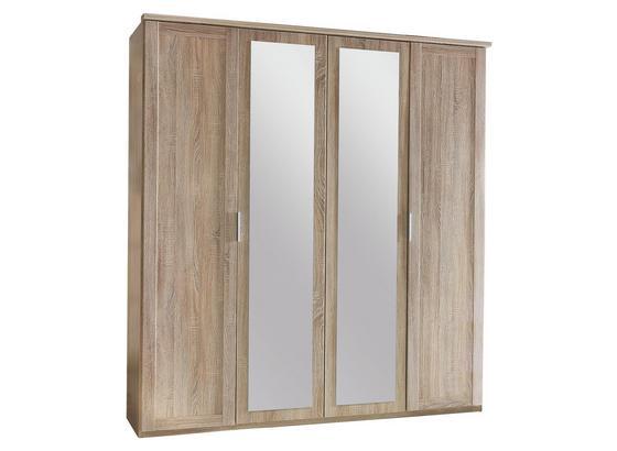 Drehtürenschrank mit Spiegel 180cm Nadja, Sägerau Dekor - Eichefarben, KONVENTIONELL, Glas/Holzwerkstoff (180/210/58cm) - Cantus