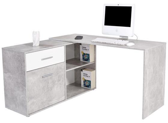 Písací Stôl Prag 138 - sivá/biela, Moderný, kompozitné drevo (138/74/120cm)