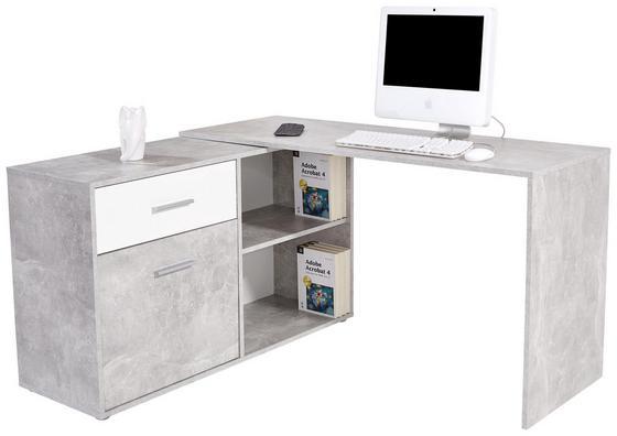 Psací Stůl Prag 138 - bílá/šedá, Moderní, dřevěný materiál (138/74/120cm)