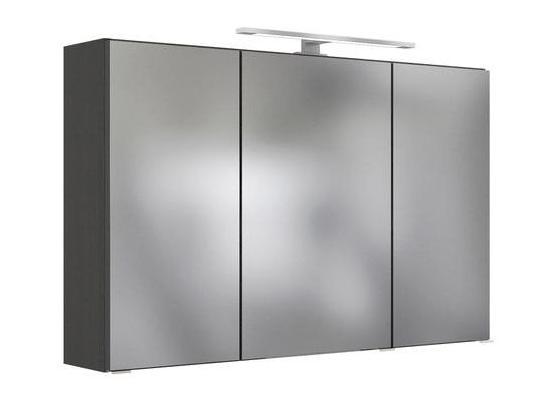 Spiegelschrank Arezzo B: 100 cm Eiche Dekor - Graphitfarben/Silbereichenfarben, Basics, Glas/Holzwerkstoff (100/64/20cm) - Livetastic