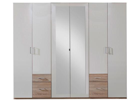 Drehtürenschrank mit Spiegel 270cm Fly, Weiß/ Eiche Dekor - Eichefarben/Weiß, Design, Glas/Holzwerkstoff (270/210/58cm) - Carryhome