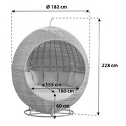 Gartenmuschel Pomona Aus Polyrattan mit Kissen - Grau, MODERN, Kunststoff/Metall (182/228cm)