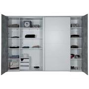 Schiebetürenschrank Tokio, 315x225 cm - Weiß/Grau, MODERN, Holzwerkstoff (315/225/61cm)