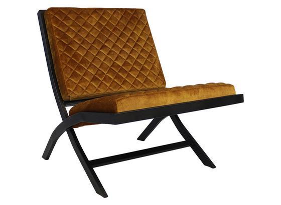 Designsessel Madrid B: 66 cm Dunkelgelb - Dunkelgelb/Schwarz, Design, Textil (66/80/90cm) - Livetastic