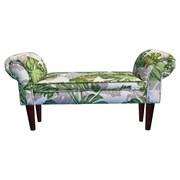 Lavica Wood - biela/zelená, Konvenčný, textil (102/51/31cm)