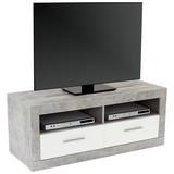 TV-Element Malta - Schwarz/Weiß, MODERN, Holzwerkstoff (128/50/42cm)