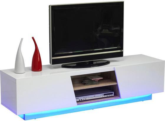 Stolek Na Elektroniku Pisa - bílá/hnědá, Moderní, kompozitní dřevo (160/40/41cm)