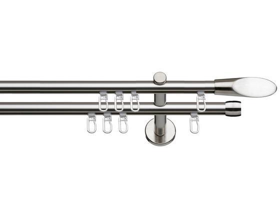 Innenlaufstange Miriam, 2-Lfg. - Edelstahlfarben, KONVENTIONELL, Metall (132/5/11cm) - Ombra