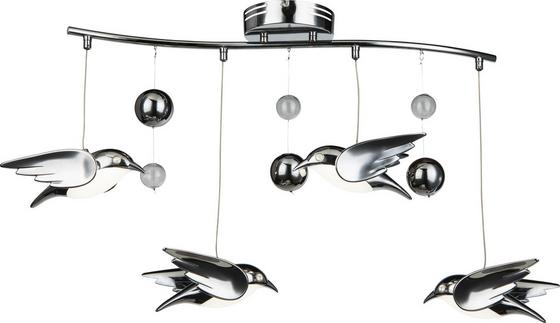 LED-Deckenleuchte Vogel - Chromfarben, MODERN, Kunststoff/Metall (80/22/48cm)
