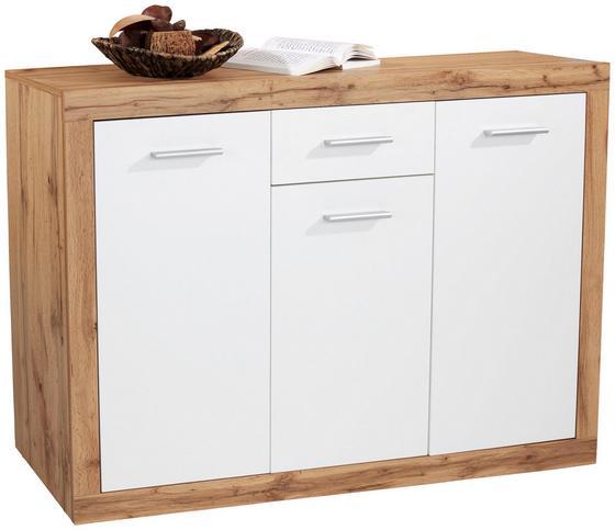 Kommode Mallorca - Eichefarben/Silberfarben, MODERN, Holzwerkstoff (132/90/35cm)
