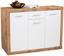 Sideboard Mallorca - Eichefarben/Silberfarben, MODERN, Holzwerkstoff (132/90/35cm)