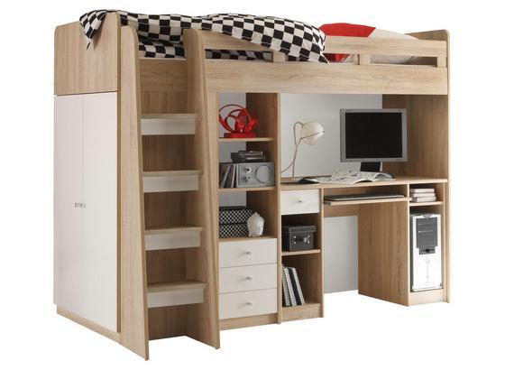 Stauraumbett Unit 90x200 inkl. Schreibtisch und Leiter - Weiß/Sonoma Eiche, MODERN, Holzwerkstoff (204/160/124cm)