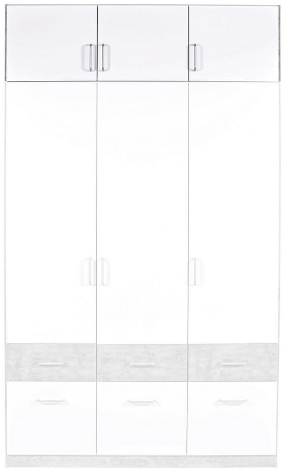 Nástavec Na Skříň Aalen-extra - bílá/šedá, Konvenční, dřevěný materiál (136/39/54cm)
