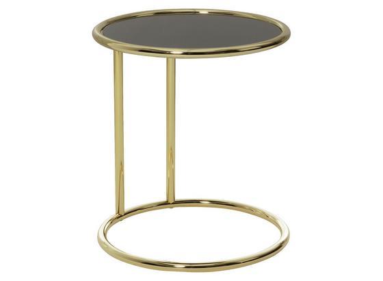 Beistelltisch Rund Glasplatte Schwarz, Beine Goldfarben - Goldfarben, Design, Glas/Metall (45/53/45cm) - Livetastic