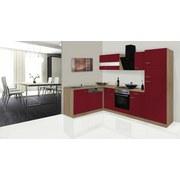 Eckküche Economy L 280cm Eiche/Rot - Eichefarben/Rot, Basics, Glas/Holzwerkstoff (172/280cm) - Livetastic