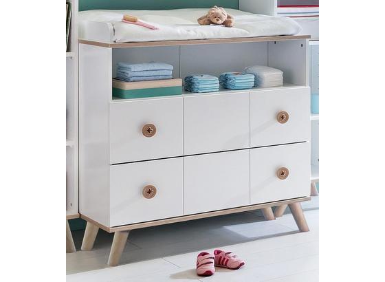 Komoda Billund - bílá/barvy dubu, Moderní, dřevo/kompozitní dřevo (91/93/75cm) - Modern Living