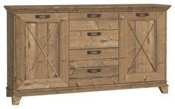 Komoda Nepal - barvy smrku/barvy modřínu, Konvenční, kov/kompozitní dřevo (175/97/45cm)