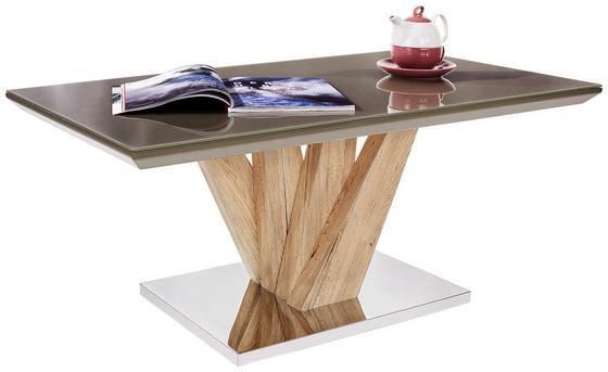 Couchtisch Boston In San Remo mit Tischplatte aus Glas - Edelstahlfarben/Schlammfarben, MODERN, Glas/Holzwerkstoff (110/45/60cm)