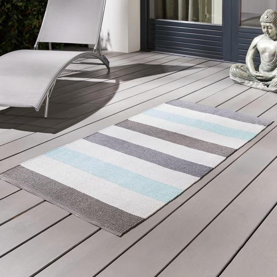 Exteriérový Koberec Stripe - modrá, Moderný, textil (70/140cm) - Mömax modern living