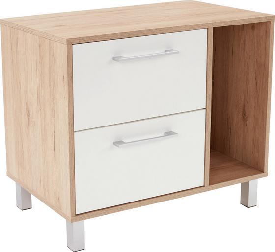 Komód Box - tölgy színű/fehér, modern, faanyagok (75/60/40cm)