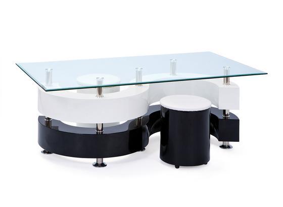 Couchtisch Serena B: 130 cm Weiß/Schwarz - Schwarz/Weiß, Basics, Glas/Holzwerkstoff (130/46/70cm)