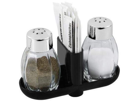 Soľnička A Korenička Soľ+korenie - farby strieborného duba, Konvenčný, plast/sklo (8cm)