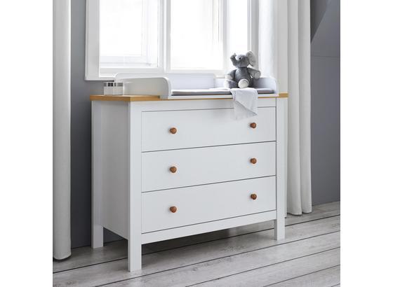 Prebaľovacia Komoda Marie - biela/farby buku, Moderný, drevo (100/84,5-99/50-60cm) - Modern Living