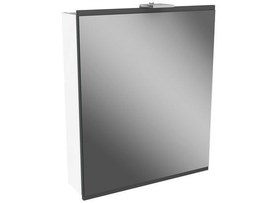 Spiegelschrank mit Türdämpfer + Led Lima B: 60cm, Weiß+grau - Weiß, MODERN, Glas/Holzwerkstoff (60/73/15,5cm) - Fackelmann