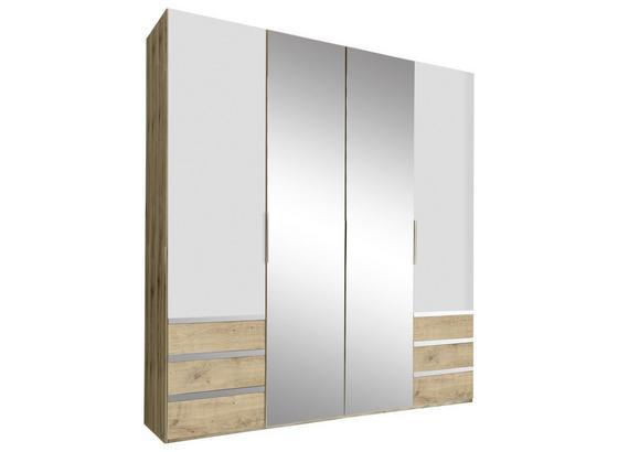Drehtürenschrank mit Spiegel 200cm Level 36a, Eichendekor - Eichefarben/Weiß, MODERN, Glas/Holzwerkstoff (200/216/58cm)