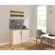 Miniküche B: 100 cm Weiß/Eiche - Edelstahlfarben/Eichefarben, MODERN, Holzwerkstoff/Metall (100/87/60cm) - MID.YOU