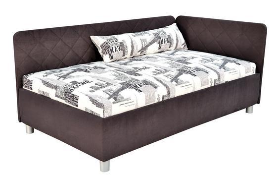 Kárpitozott Ágy Sorbona - Szürke/Fehér, konvencionális, Textil (110/200cm)