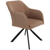 Stuhl Sevilla Hellbraun - Hellbraun/Schwarz, MODERN, Textil/Metall (55,5/82/63cm) - Ombra