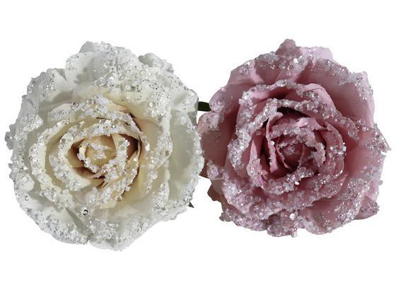 Dekoblume Romantik Rose - Dunkelrosa/Beige, MODERN, Kunststoff/Metall (11cm) - Luca Bessoni