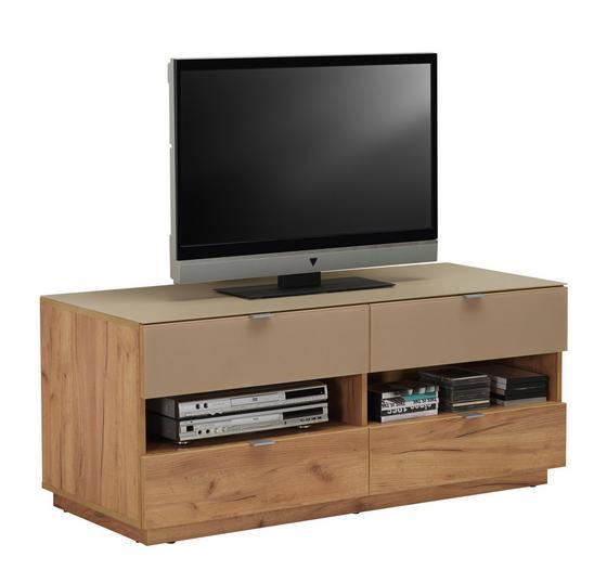 Tv - Elem Contur - Tölgyfa, modern, Faalapú anyag/Üveg (130/54/52cm)