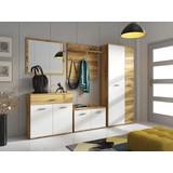 Garderobe Irys B: 240 cm Eiche/Weiss - Eichefarben/Weiß, Basics, Glas/Holzwerkstoff (240/190/35cm)