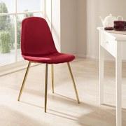 Stuhl Artdeco B: 44 cm Rot - Bordeaux/Goldfarben, MODERN, Textil/Metall (45/85/54cm) - Luca Bessoni